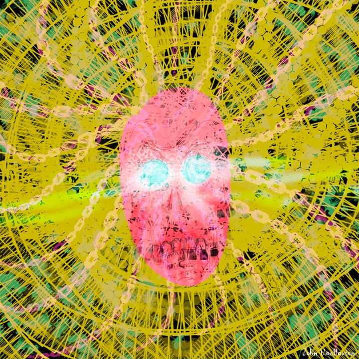 Psychedelic Floating Skull