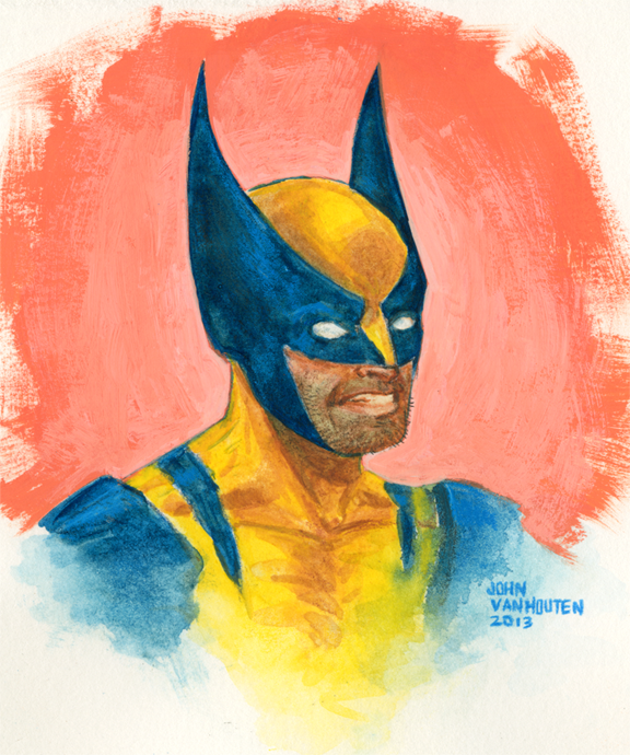 Wolverine Watercolor, Gouache, and Watercolor Pencil