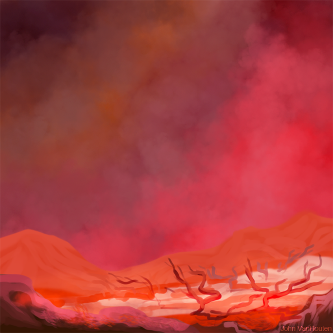 Red Alien Landscape Speed Painting