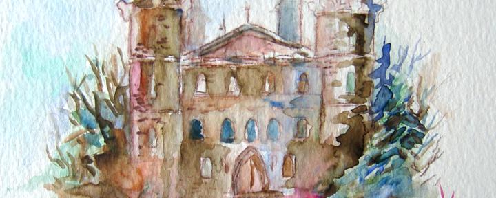 Watercolor Castle Sketch