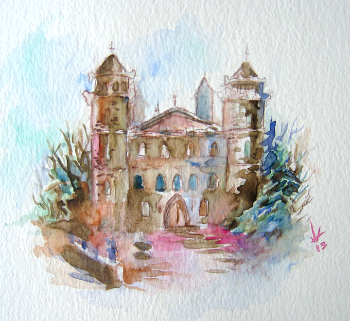Watercolor Castle Sketch