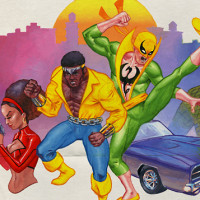 """Heroes For Hire Blaxploitation Poster"" - Gouache and Digital"